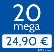 Adsl 20 Mega in download e 2 Mb/s in upload a 24,90 €/mese, invece di 35,00 €