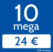 Adsl 10 Mega in download e 1024 Kb/s in upload a 24€/mese